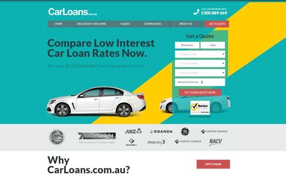 The original carloans.com.au landing page design