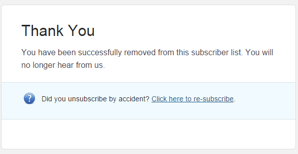 Mailchimp unsubscribe confirmation