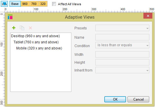 Default adaptive view layout