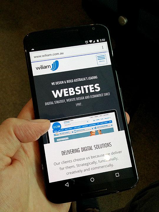 Nexus 6 showing the Wiliam website