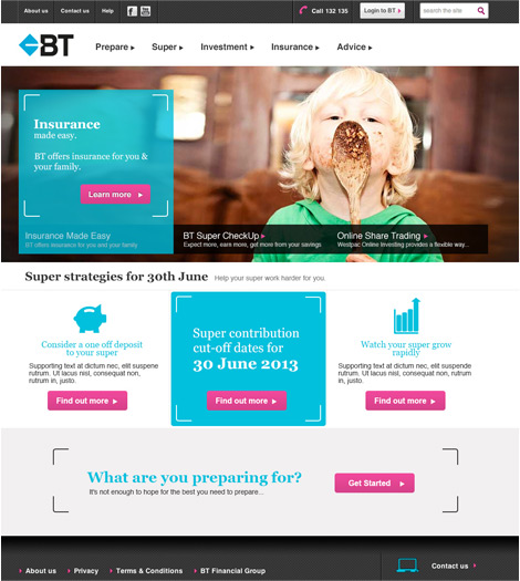Home page website design BT