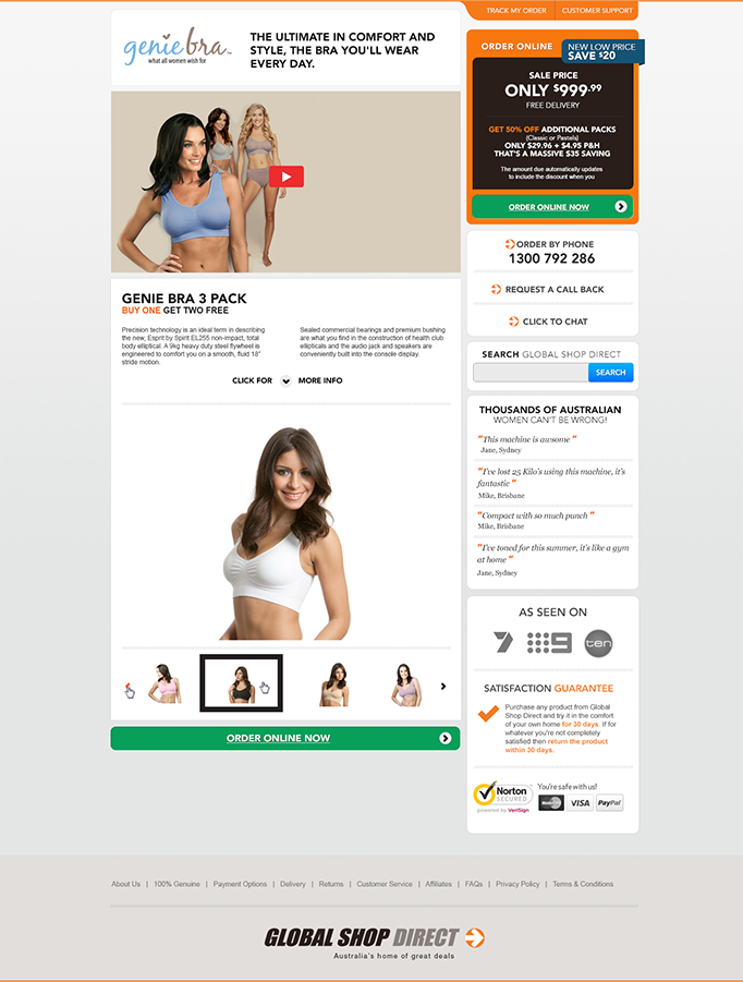 Product page website design