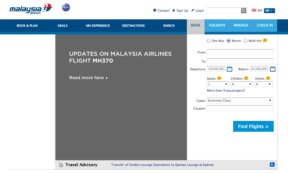 Malaysian Airlines Dark website
